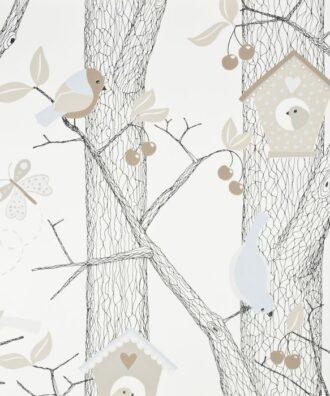Tapeta Boras Tapeter Lilleby 2651 beżowa w drzewa